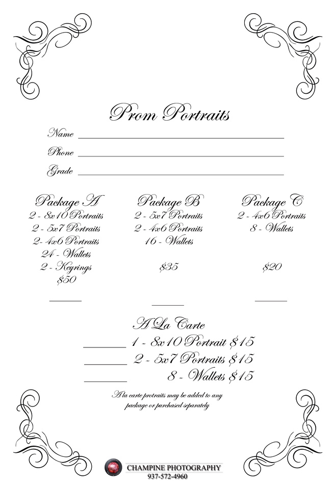 Champine Photography | Dixie And Tcn Prom Portrait Order Form